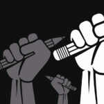 REVOLUTION. Protesting human hand fist holding a pen concept icon.